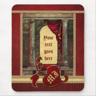 Gorgeous Classic Arch Columns Dramatic Red Drapes Mouse Pad