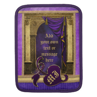 Gorgeous Classic Arch Columns Violet Drapes Gold Sleeve For iPads