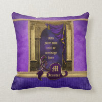 Gorgeous Classic Arch Columns Violet Drapes Gold Throw Pillow