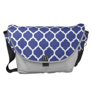 Gorgeous Cobalt Blue Moroccan Quatrefoil Pattern Courier Bag