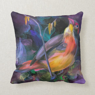 Gorgeous Colorful Bird Motif Throw Pillow