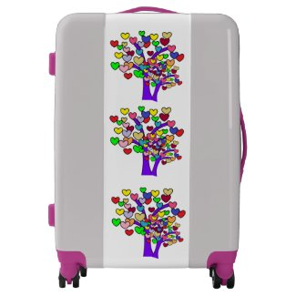 Colorful Hearts Purple Trees Pattern Girly Luggage