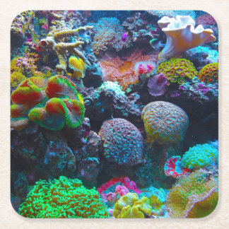 Gorgeous Coral Reef Square Paper Coaster