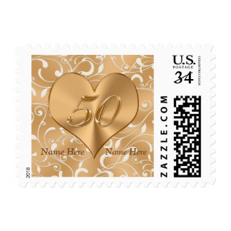 Gorgeous Custom 50th Wedding Anniversary Stamps