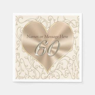 Gorgeous Custom 60th Aniversary Napkins, Birthday Paper Napkin