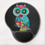 "Gorgeous Custom Owl on Black Leather Gift Gel Mouse Pad<br><div class=""desc"">If you're an owl lover,  or known someone who loves owls,  this is for you. It's a beautiful custom gift that features a gorgeous handmade owl design. It makes the perfect gift for any occasion or holiday.</div>"