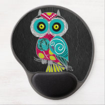 Gorgeous Custom Owl on Black Leather Gift Gel Mouse Pad