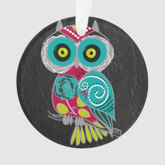 Gorgeous Custom Owl on Black Leather Gift Ornament