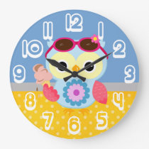 Gorgeous Custom Summer Owl Gift Large Clock