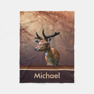 Gorgeous deer portrait fleece blanket