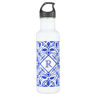 Gorgeous Delft-Blue Custom Monogram Water Bottle