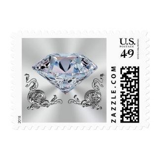 Gorgeous Diamond Wedding Stamps, Silvery Swirls Postage
