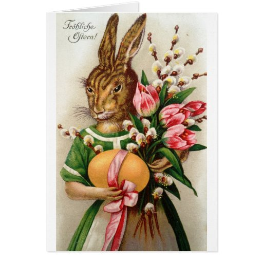 Gorgeous Dressed Lady Easter Bunny Willows Greeting Card