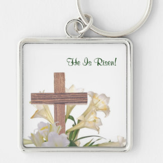 Gorgeous! Easter Lilies & Wooden Cross Key Ring