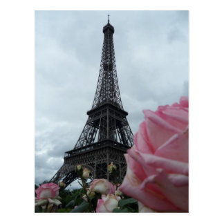 Gorgeous Eiffel Tower Pink Roses Photo Card
