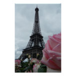 Gorgeous Eiffel Tower with Pink Roses Paris Poster