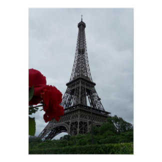Gorgeous Eiffel Tower with Red Roses Poster