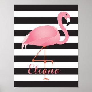 Gorgeous, elegant flamingo poster with name