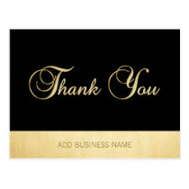 Gorgeous Elegant Gold Black Business THANK YOU Postcard