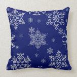Gorgeous Elegant Snowflakes Pattern On Navy Blue Throw Pillow