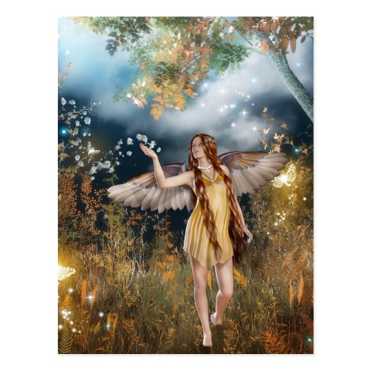 Gorgeous fairy taking a stroll in the moonlight. postcard