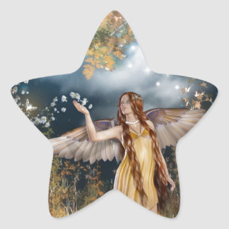 Gorgeous fairy taking a stroll in the moonlight. star sticker