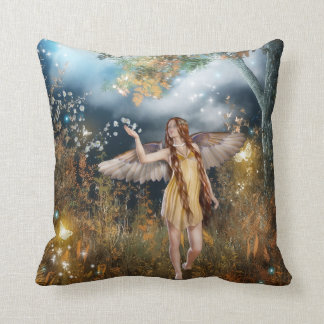 Gorgeous fairy taking a stroll in the moonlight. throw pillow