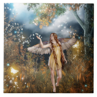 Gorgeous fairy taking a stroll in the moonlight. ceramic tile