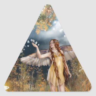 Gorgeous fairy taking a stroll in the moonlight. triangle sticker