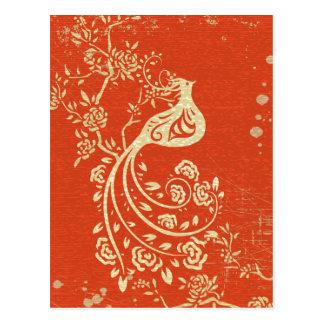 Gorgeous Fantasy Bird Red Grunge Background Postcard