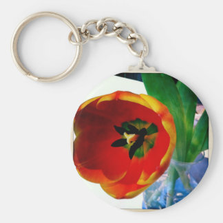 Gorgeous Fiery Red Orange Tulip Watercolor Keychain