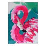 Gorgeous Flamingo Bird Tropical    Art Print Greeting Card