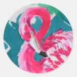 Gorgeous Flamingo Bird Tropical    Art Print Round Stickers