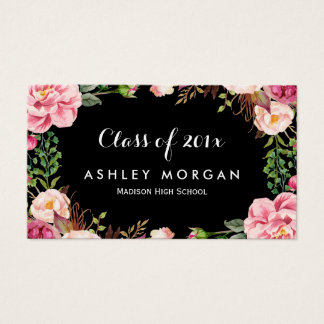 Gorgeous Floral Girly Graduation Students Business Card