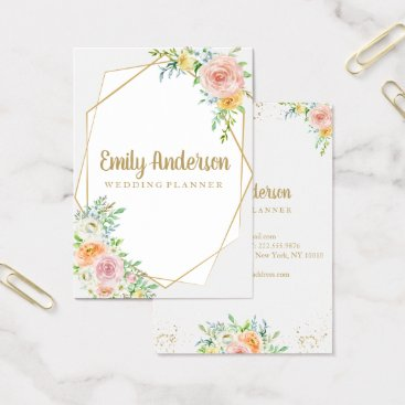 Professional Business Gorgeous floral hello card | gold and blush flower
