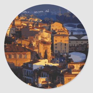 Gorgeous Florence Italy Sunset Scene Classic Round Sticker