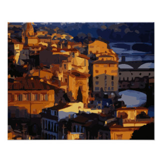 Gorgeous Florence Italy Sunset Scene Poster