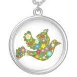 Gorgeous Flowery Green Bird Necklace