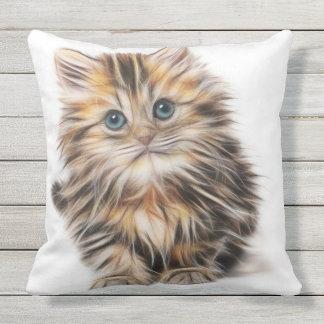 Gorgeous fluffy kitten fractal art outdoor pillow