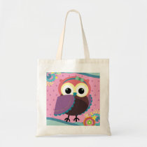 Gorgeous Folk Art Owl with Flowers Tote Bag