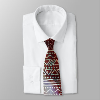 Gorgeous Galaxy Tribal Geometric Red Pattern Neck Tie