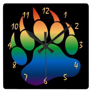 Gorgeous Gay Bear Pride Bear Paw Square Wall Clock
