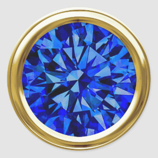 Gorgeous Gem Blue Classic Round Sticker