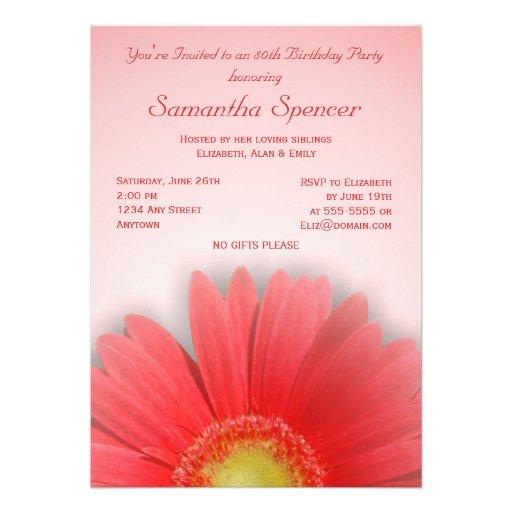 Gorgeous Gerbera Birthday Invitation