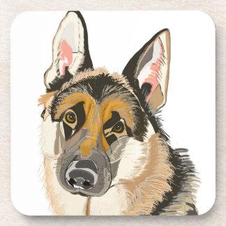 Gorgeous German Shepherd, Alsation Dog Drawing Drink Coaster