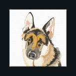 """Gorgeous German Shepherd Canvas<br><div class=""""desc"""">This beautiful portrait depicts a German Shepherd,  looking straight at you,  with love in it&#39;s eyes. It is based on a photograph of my own dog Mutley,  a noble and constant companion,  and a credit to the German Shepherd breed.</div>"""