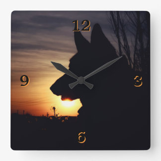 Gorgeous German Shepherd Silhouette Wall Clock