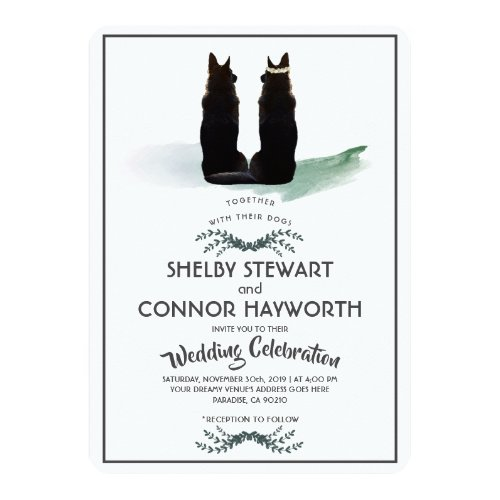 Gorgeous German Shepherd Silhouette Wedding Invitation