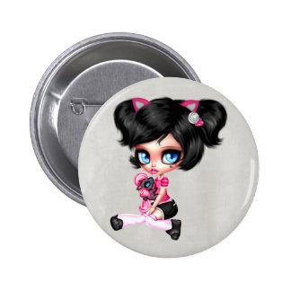 Gorgeous Girly Goth Doll 2 Inch Round Button