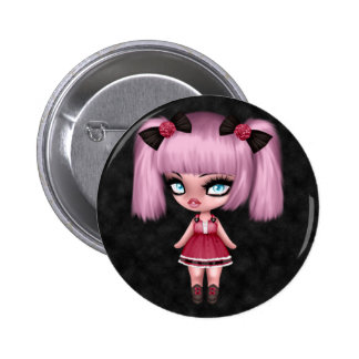 Gorgeous Girly Goth Doll with Pink Hair 2 Inch Round Button